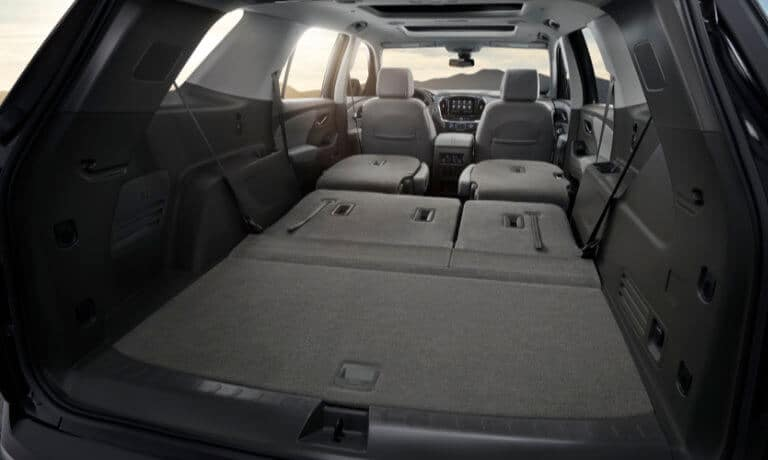2020 Chevy Traverse Interior showing Cargo space and seats view from back