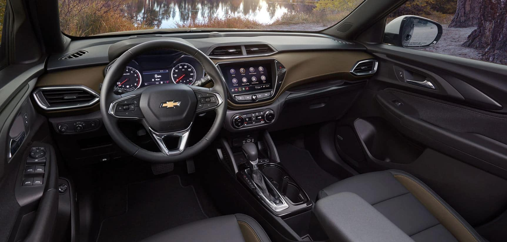 Interior of a 2021 Chevy Trailblazer. The 2021 Chevy Trailblazer is available now at Mike Anderson Chevrolet of Chicago