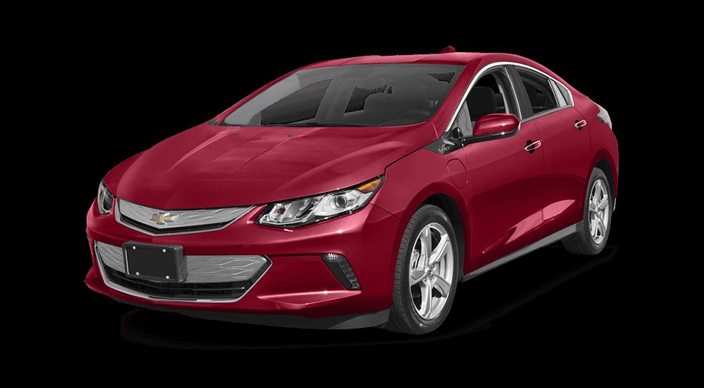 Red Chevrolet Volt on white background