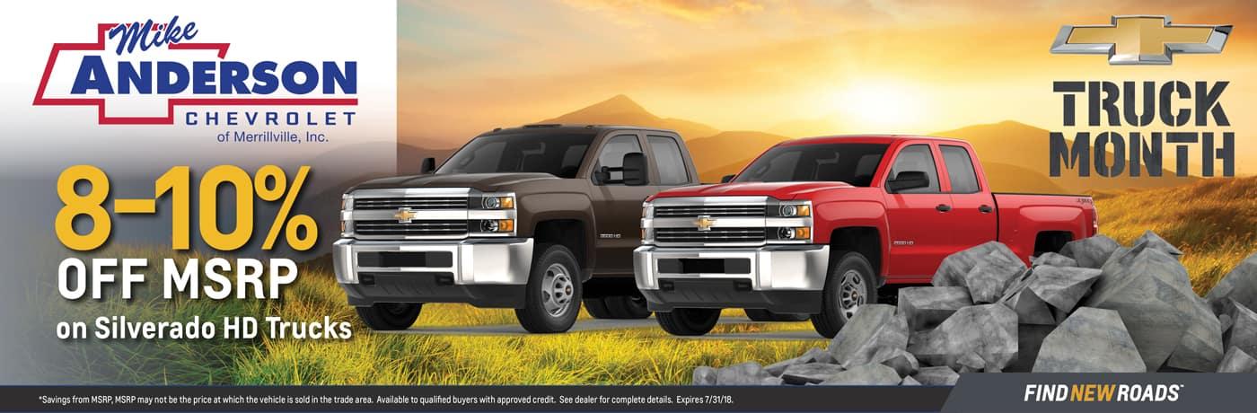 8-10% off Silverado Trucks