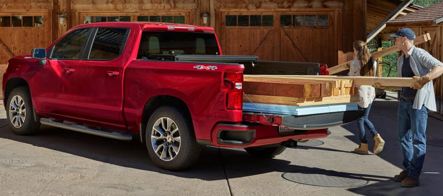 2019 Chevy Silverado loaded with lumber