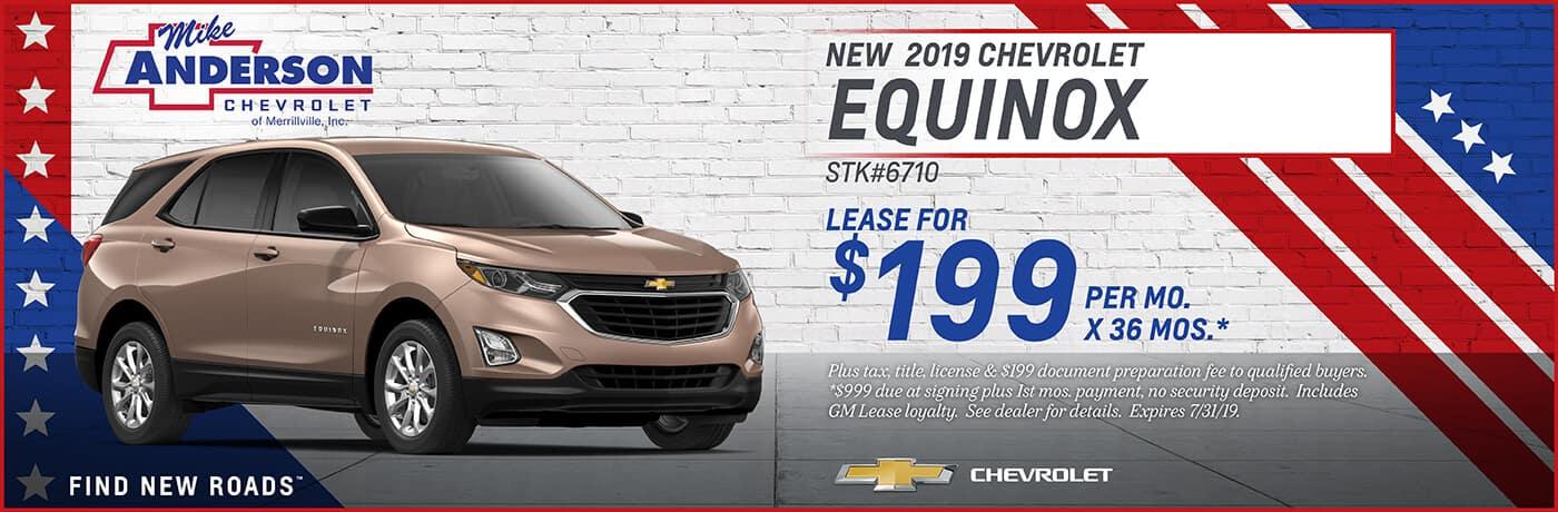 Lease a 2019 Chevrolet Equinox for $199 per mo. for 36 mos.