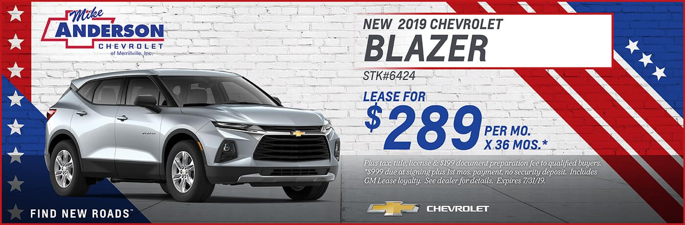 Lease a 2019 Chevy Blazer for $289 per mo. for 36 mos.