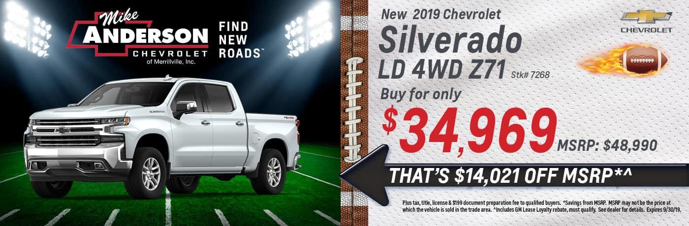 Save $14,021 off MSRP on a 2019 Chevrolet Silverado LD 4WD Z71