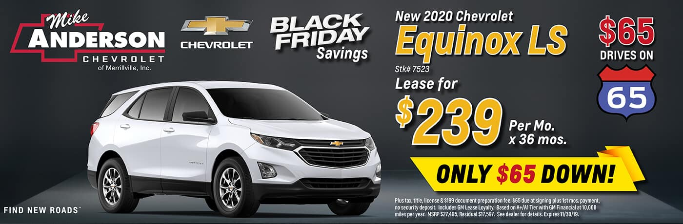 Lease a 2020 Chevrolet Equinox for $239/mo. for 36 mos.