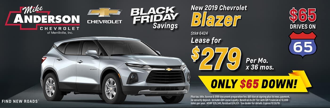 Lease a 2019 Chevrolet Blazer for $279/mo. for 36 mos.