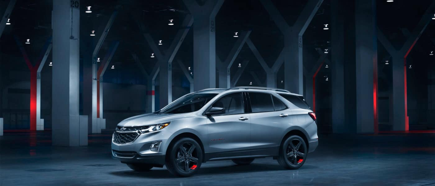 2020 Chevy Equinox Exterior parked in Dark Tunnel with red lights