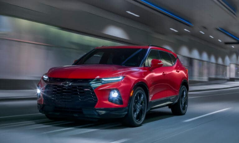 19Chevy-Blazer in red Driving Through Tunnel at Night