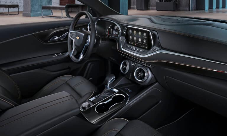 2020 chevy blazer view of of the front interior from the passenger seat