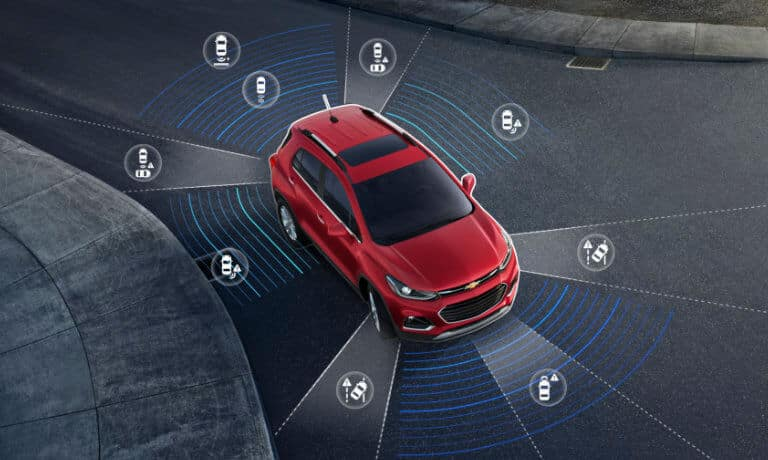 2020 Chevy Trax in red showing saftey icons