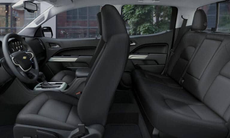 2020 Chevy Colorado interior front and back seat voew from drover side