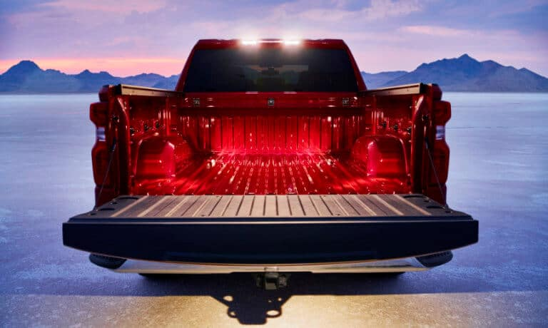 2020 chevy silverado in red showing open bed