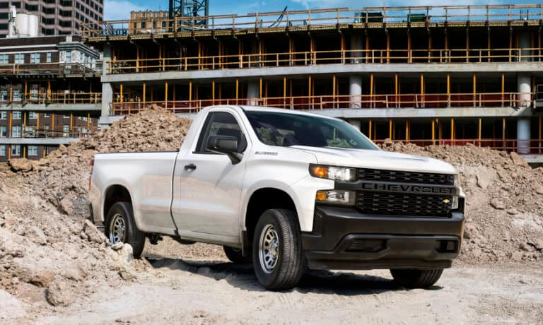 2020 chevy silverado in white parked on construction site