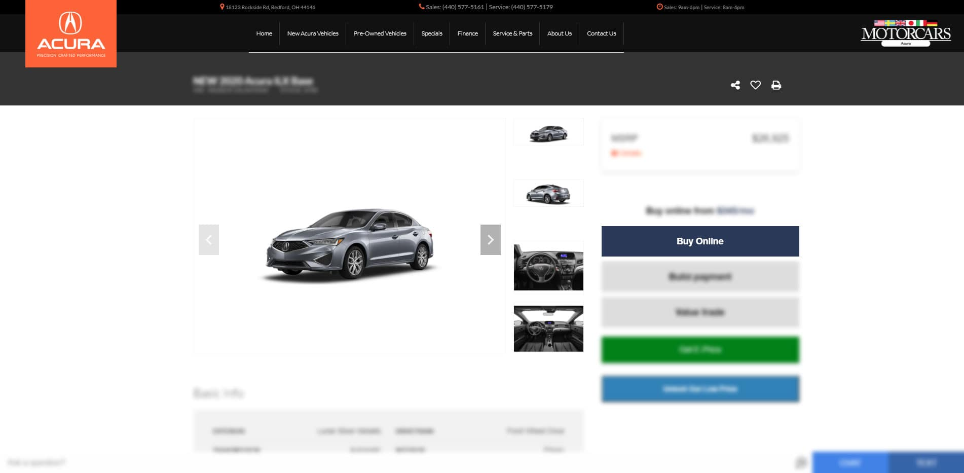 Motorcars Acura Instant Payment Calculator