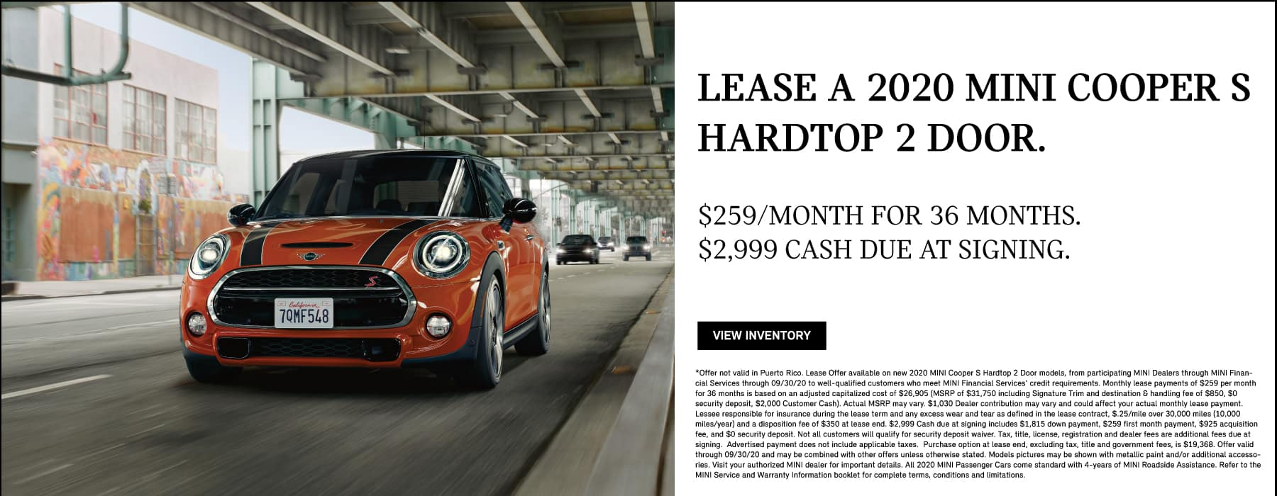 Alt Text: CooperLease a 2020 MINI Cooper S Hardtop 2 Door for $259/month and $2,999 Cash due at signing through 9/30/20. View Inventory