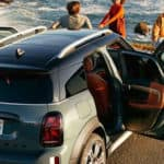 mini cooper countryman parked on oceanside cliff
