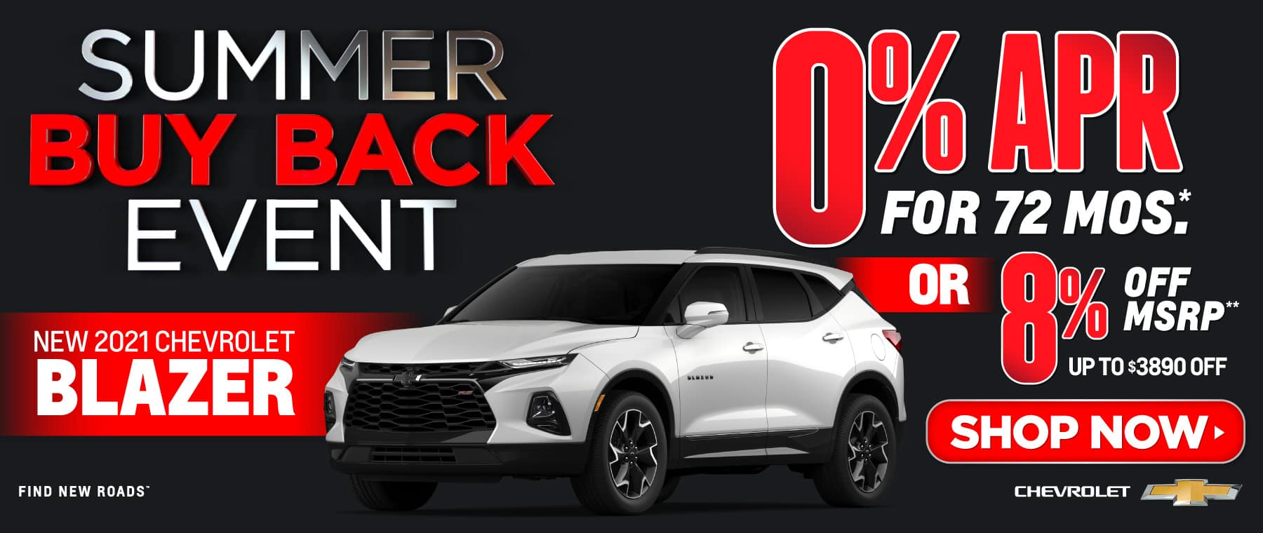 New 2021 Chevy Blazer - 0% APR for 72 months - Act now