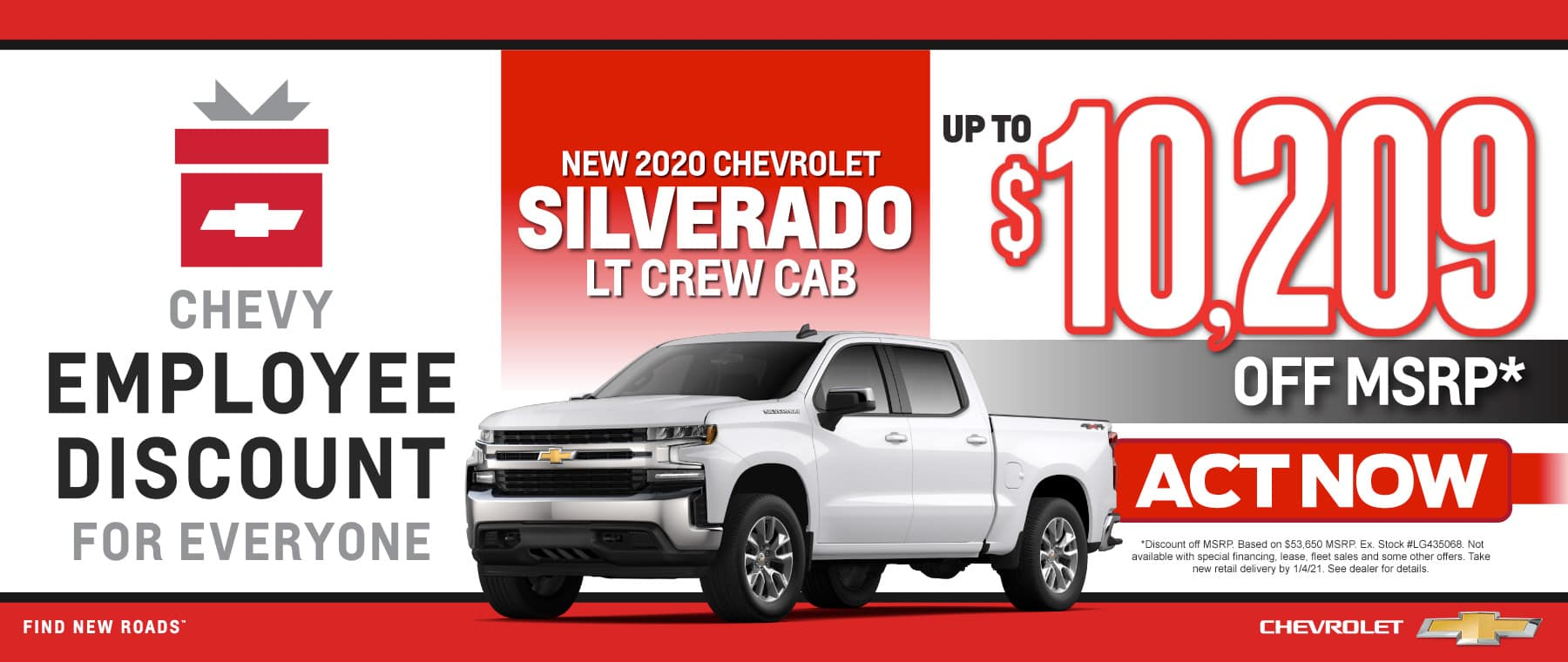New 2020 Chevy Silverado - Up to $10,209 off msrp - Act Now