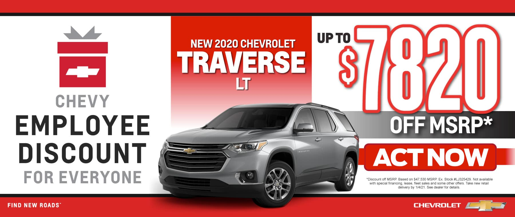 New 2020 Chevy Traverse - Up to $7820 off msrp - Act now