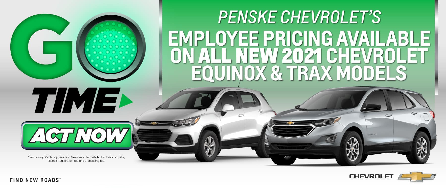 Employee Pricing Available on all new 2021 Chevy Equinox and Trax models - Act Now
