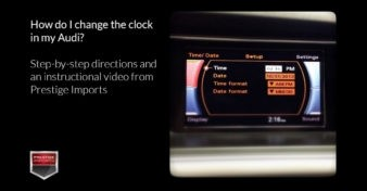 "Photo of the MMI screen in a late model Audi vehicle. Used to illustrate the article ""How do I change the clock in my Audi?"""