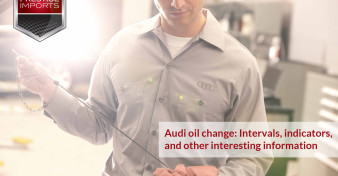 Certified Audi Technician checking the oil level in an Audi vehicle