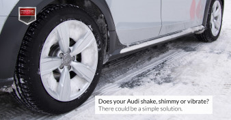 "Photo of snow packed wheels on an Audi allroad. Used to illustrate the article ""Does your Audi shake, shimmy or vibrate? There could be a simple solution."""