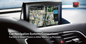 Close-up view of the MMI Scren in an Audi vehicle. Image used to illustrate the article - Car Navigation Systems Comparison: Factory vs Smart Phone vs After Market vs Portable.