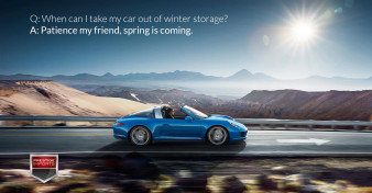 "Photo of a Porsche 911 Targa on the open road. Used to illustrate the article ""When can I take my car out of winter storage?"""