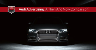 "Photo of the front of an all-new 2017 Audi A4. Used to illustrate the article ""Audi Advertising - A Then And Now Comparison""."