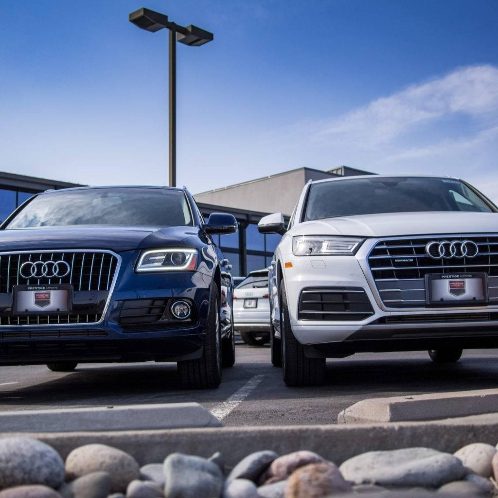 2017 Audi Q5 and 2018 Audi Q5 on display at Prestige Imports in Denver, CO