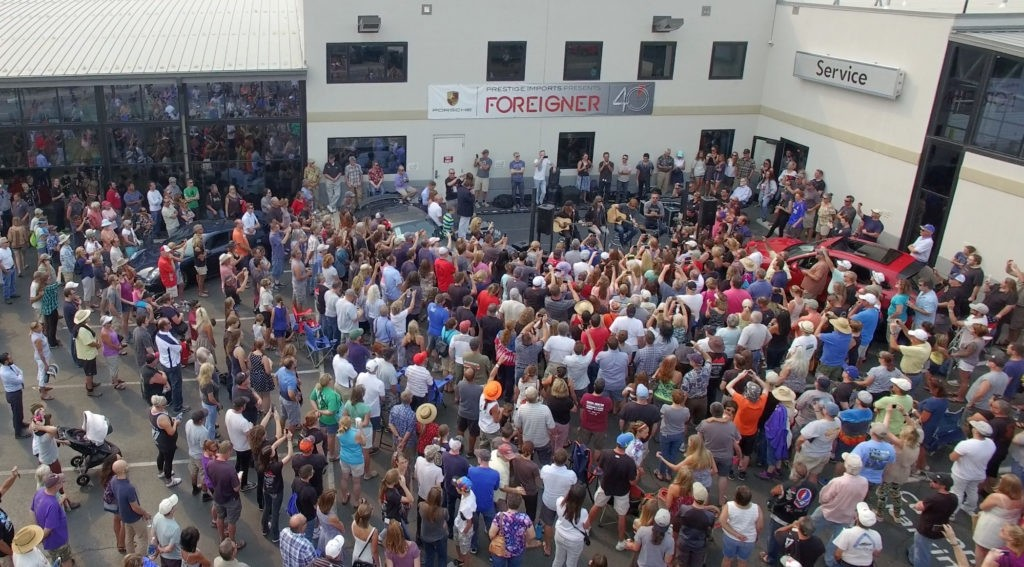 Foreigner performing at Prestige Imports Porsche in Lakewood, CO