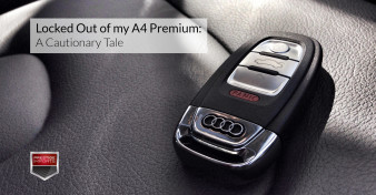 "Photo of an Audi key fob on the seat of an Audi A4. Used to illustrate the article ""Locked Out of my A4 Premium - A Cautionary Tale"""