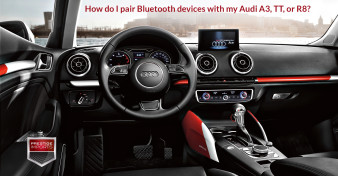 "Photo of the cockpit of the new Audi A3. Used to illustrate the article ""How do I pair Bluetooth devices with my Audi A3, TT, or R8?"""