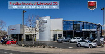 A photo of the exterior of Prestige Imports of Lakewood, a Porsche and Audi Dealer in Colorado.