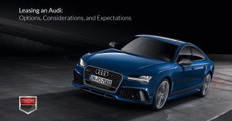 "Photo of a blue Audi RS7, used to illustrate the article ""Leasing an Audi - Options, Considerations, and Expectations"""