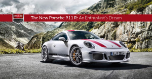 Photo of the new Porsche 911 R parked in the mountains