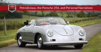 "Photo of a Porsche 356 on a country road. Used to illustrate the article ""Petrolicious, the Porsche 356, and Personal Narratives"""