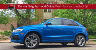 "The Audi Q3 photographed in front of Denver's Washington Park School. Used to illustrate the article ""Denver's Washington Park Neighborhood and the Audi Q3"""