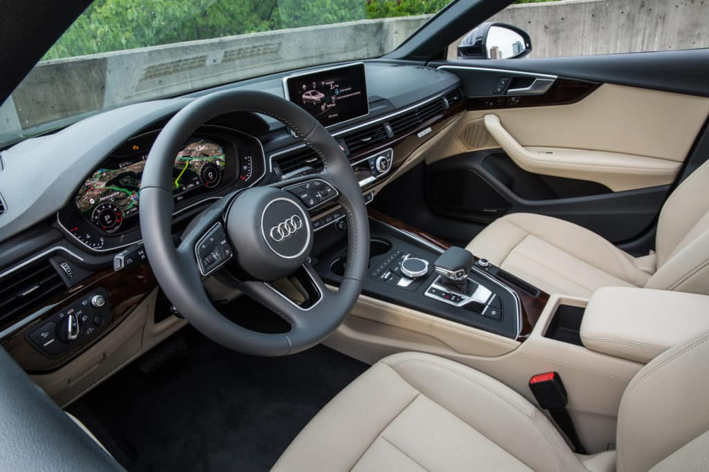 "Photo of the 2018 Audi A5 Sportback Interior. Used to illustrate the article, ""The Top 9 Reasons to Buy an Audi Sedan""."