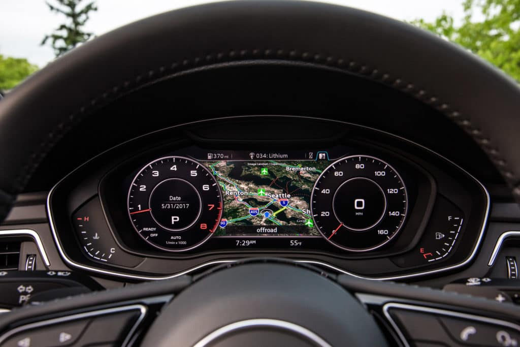 "Photo of the 2018 Audi A5 Sportback's Virtual Cockpit. Used to illustrate the article, ""The Top 9 Reasons to Buy an Audi Sedan""."