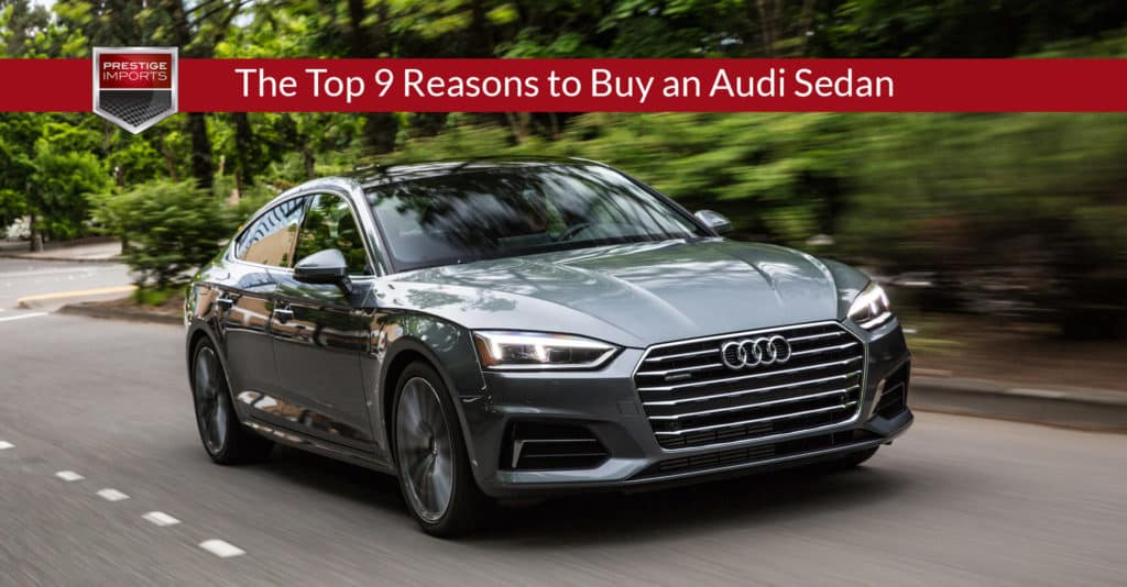 """Photo of the Audi A5 Sportback on a forest road. Used to illustrate the article, """"The Top 9 Reasons to Buy an Audi Sedan""""."""