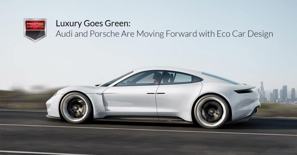 "Side view photo of the Porsche Mission E concept car. Used to Illustrate the article ""Luxury Goes Green - Audi and Porsche Are Moving Forward with Eco Car Design""."