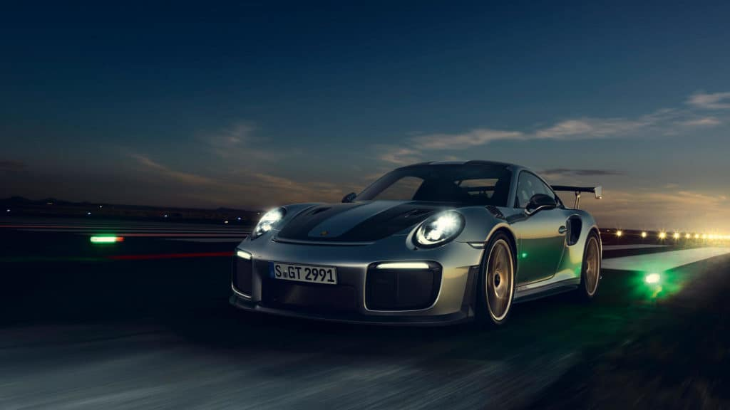 Porsche 911 GT2 RS - Best Porsche Ever - front three quarter view at night