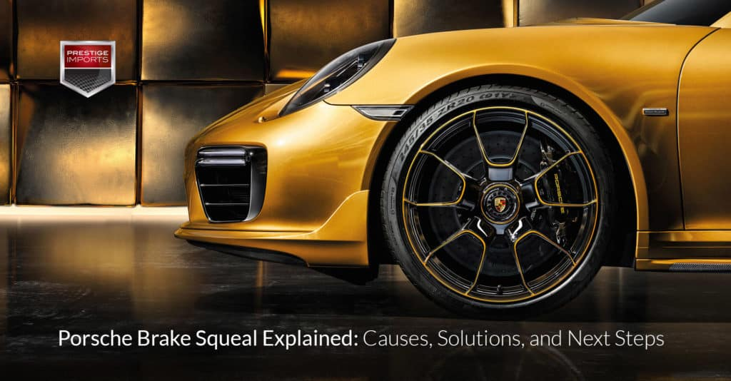 Photo of the front wheel and brake caliper of a Porsche 911 Turbo S Exclusive. Used to illustrate the article 'Porsche Brake Squeal Explained: Causes, Solutions, and Next Steps'