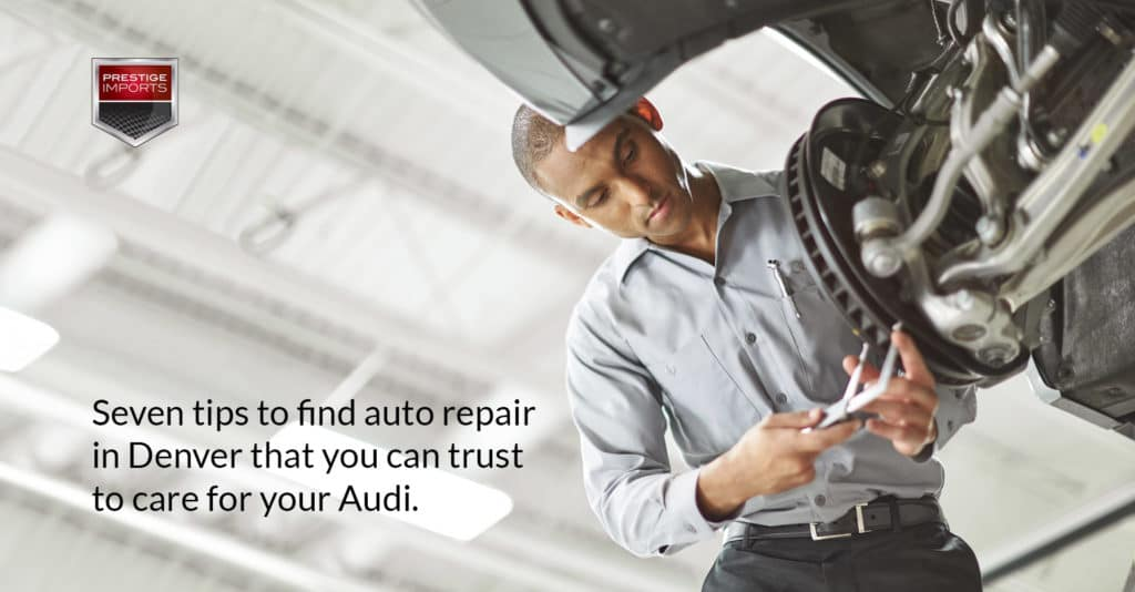"Photo of a Audi Certified Technician working on a brake rotor. Used to illustrate the article, ""Seven tips to find auto repair in Denver that you can trust to care for your Audi""."