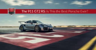 "Photo of the Porsche 911 GT2 RS on the racetrack. Used to illustrate the article ""The 911 GT2 RS: Is This the Best Porsche Ever?"""