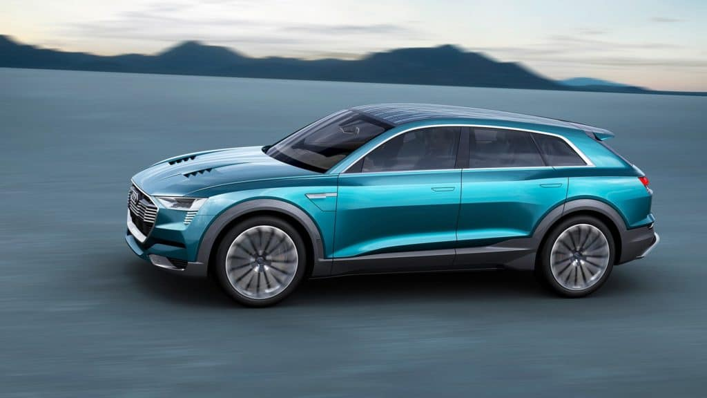 "Side view photo of the Audi e-tron quattro concept car. Used to Illustrate the article ""Luxury Goes Green - Audi and Porsche Are Moving Forward with Eco Car Design""."
