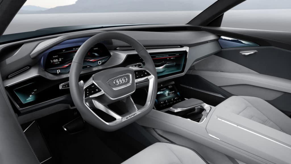 "Cockpit photo of the Audi e-tron quattro concept car. Used to Illustrate the article ""Luxury Goes Green - Audi and Porsche Are Moving Forward with Eco Car Design""."