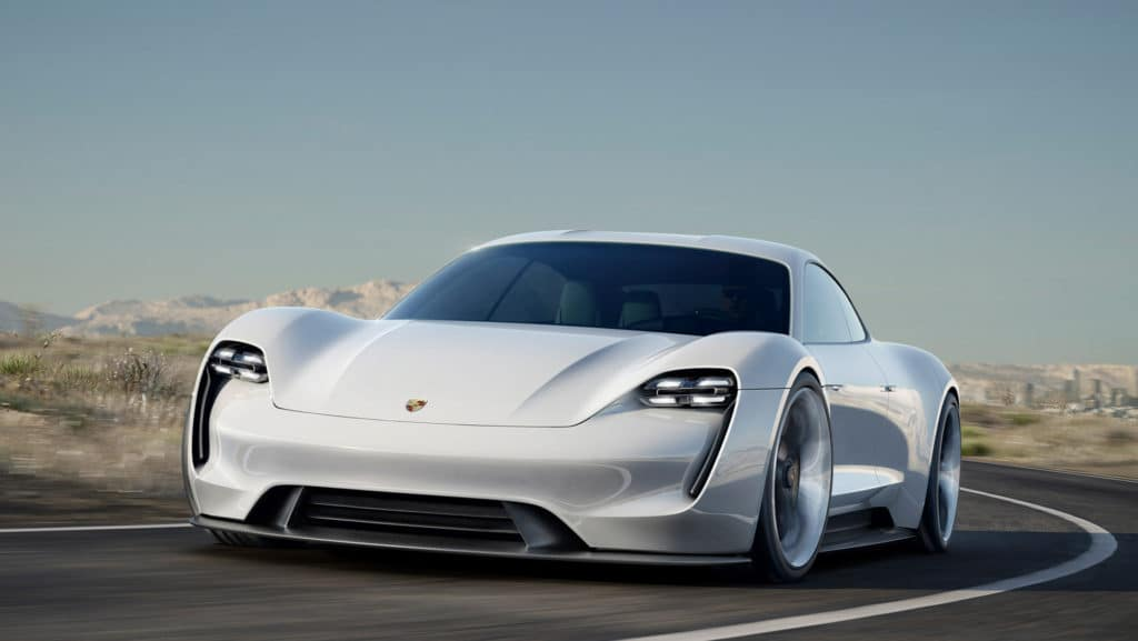 "Front three quarter view photo of the Porsche Mission E concept car. Used to Illustrate the article ""Luxury Goes Green - Audi and Porsche Are Moving Forward with Eco Car Design""."